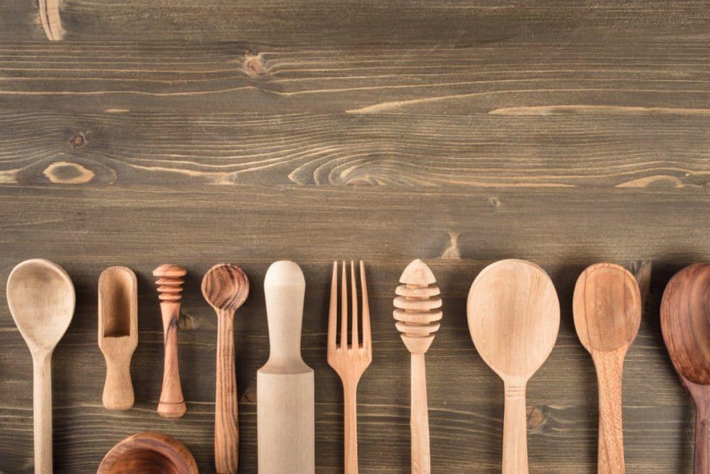 Wood kitchen utensils.